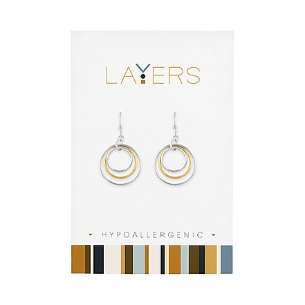 Silver Two Tone Three Circle Dangle Layers Earrings