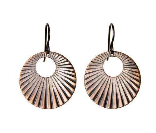 Sunburst Copper Earrings