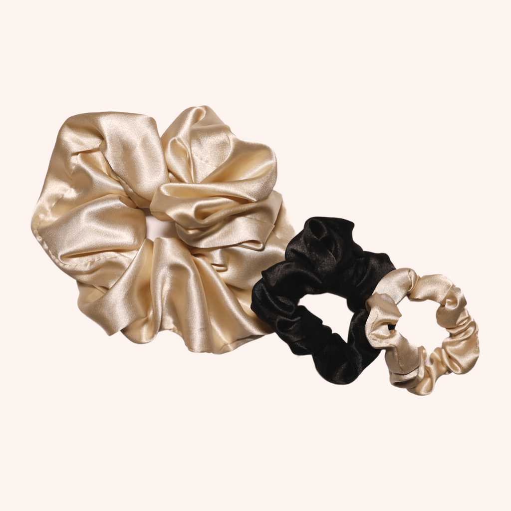 Creme Satin Scrunchie Set - 3 Piece