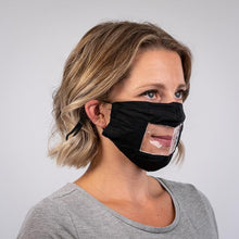 Load image into Gallery viewer, Read My Lips - Transparent Window Reusable Face Mask Black