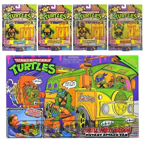Teenage Mutant Ninja Turtles TMNT Classic 1988 Repro Retro Figure and Party Wagon Van Set