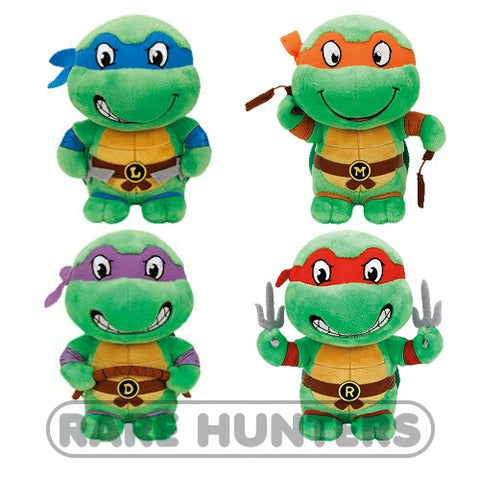 TY Teenage Mutant Ninja Turtles Set of 4 Plush: Leonardo, Michelangelo, Raphael, Donatello
