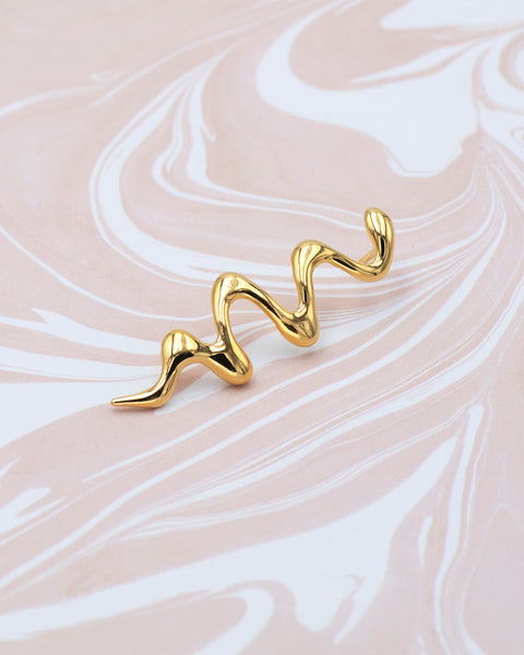 IDAMARI Alda Wave Pin in 18k Gold plated Sterling Silver