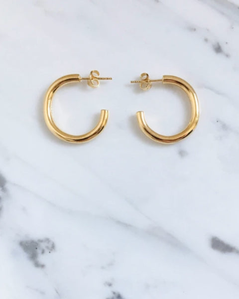 Lamé Hoop Earrings in Gold