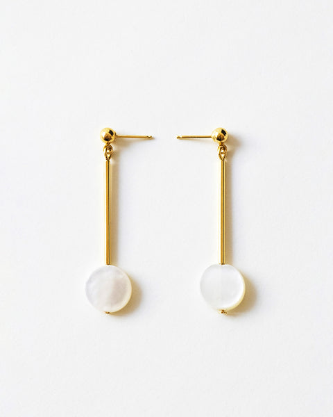 IDAMARI Olivia Earrings in 18k Gold Plated Sterling Silver with Mother of Pearl