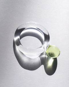 JANE D'ARENSBOURG Glass Dot Ring in Lime
