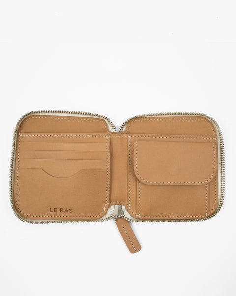 Le Bas Square Zip Wallet in Natural