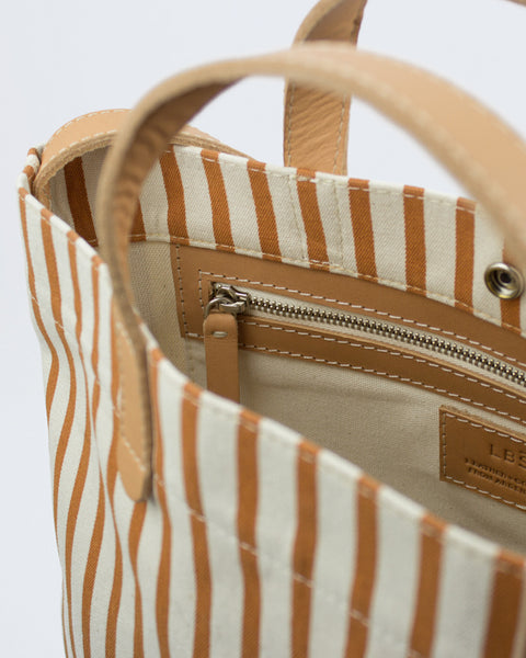Le Bas All Day Striped Canvas Tote with Leather Straps available at Lahn.