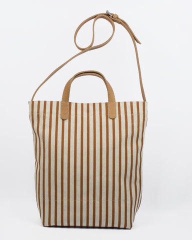 Le Bas All Day Striped Canvas Tote with Leather Straps