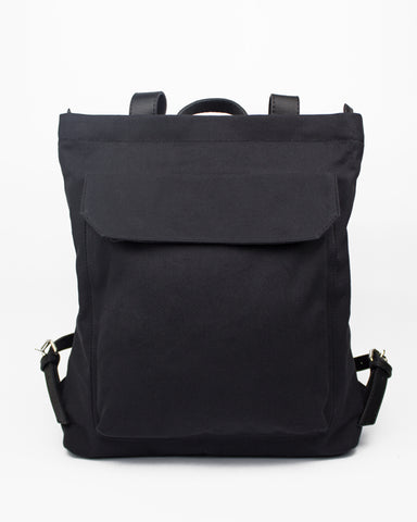 Le Bas Black Canvas Zip Pack with Leather Straps available at Lahn.