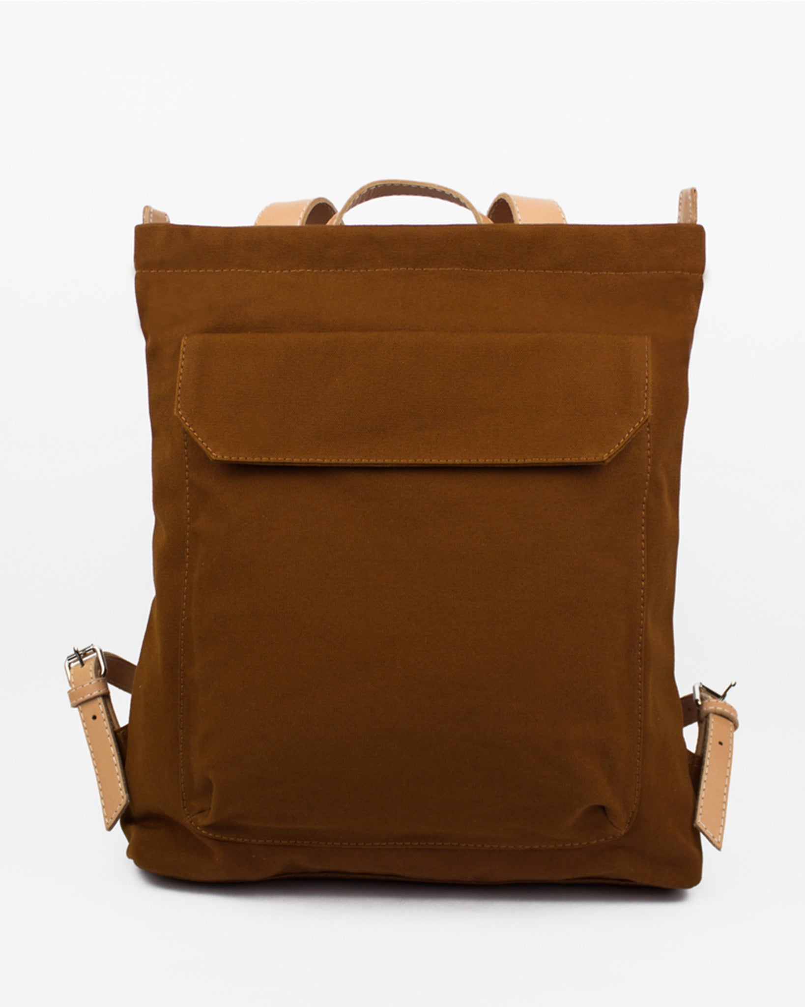 Le Bas Burnt Orange Canvas Zip Pack with Leather Straps available at Lahn.