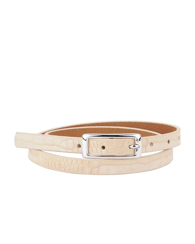 MW Skinny Leather Croc Belt in Cream