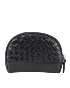 MW Braided Leather Mini Pouch in Black