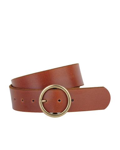 MW Wide Leather Circle Bucket Belt in Tan