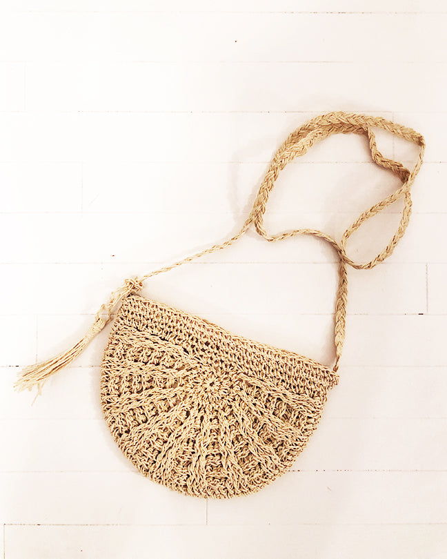 PERSONS Semicircle Straw Crossbody Bag in Sand