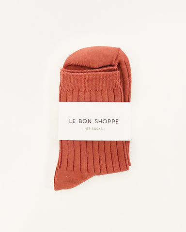 her socks in terracotta from le bon shoppe available at lahn