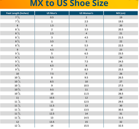 mexican shoes size