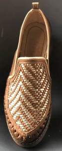 Womens Leather Inter woven design Pattern Mexican Shoes. Zapatos de Hombre, Brown Color