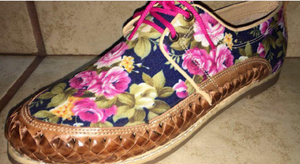Womens Leather Mexican unique floral printed material. Shoe, Colorful handmade original