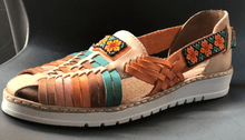 Load image into Gallery viewer, Womens Leather Mexican unique open toe Sandals. Huarache, Colorful handmade original