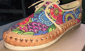 Womens Leather Mexican unique printed material. Huarache, Colorful handmade original