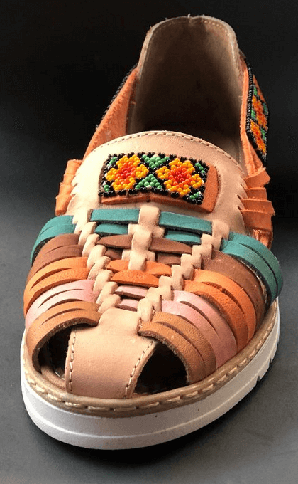 Womens Leather Mexican unique open toe Sandals. Huarache, Colorful handmade original