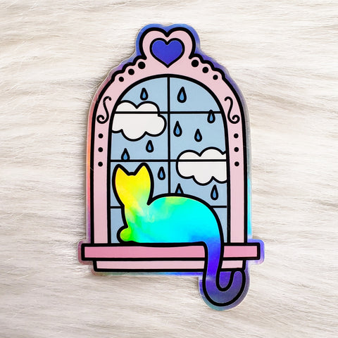 ♡ HOLOGRAPHIC Window Kitty Sticker ♡