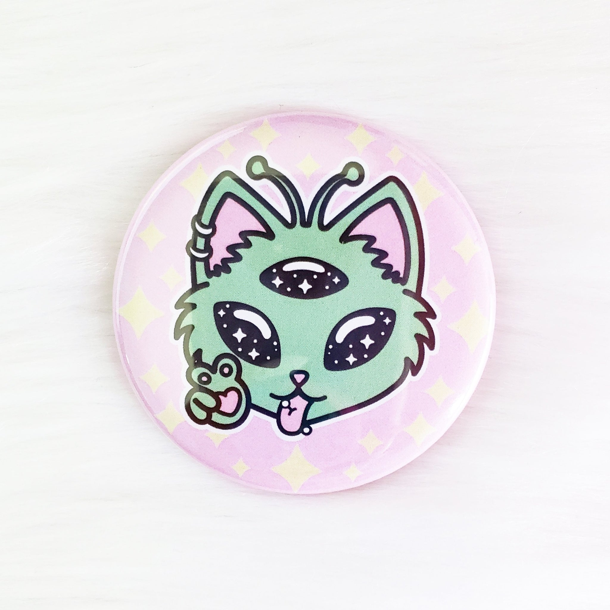 ♡ Alien Kitty Pocket Mirror ♡