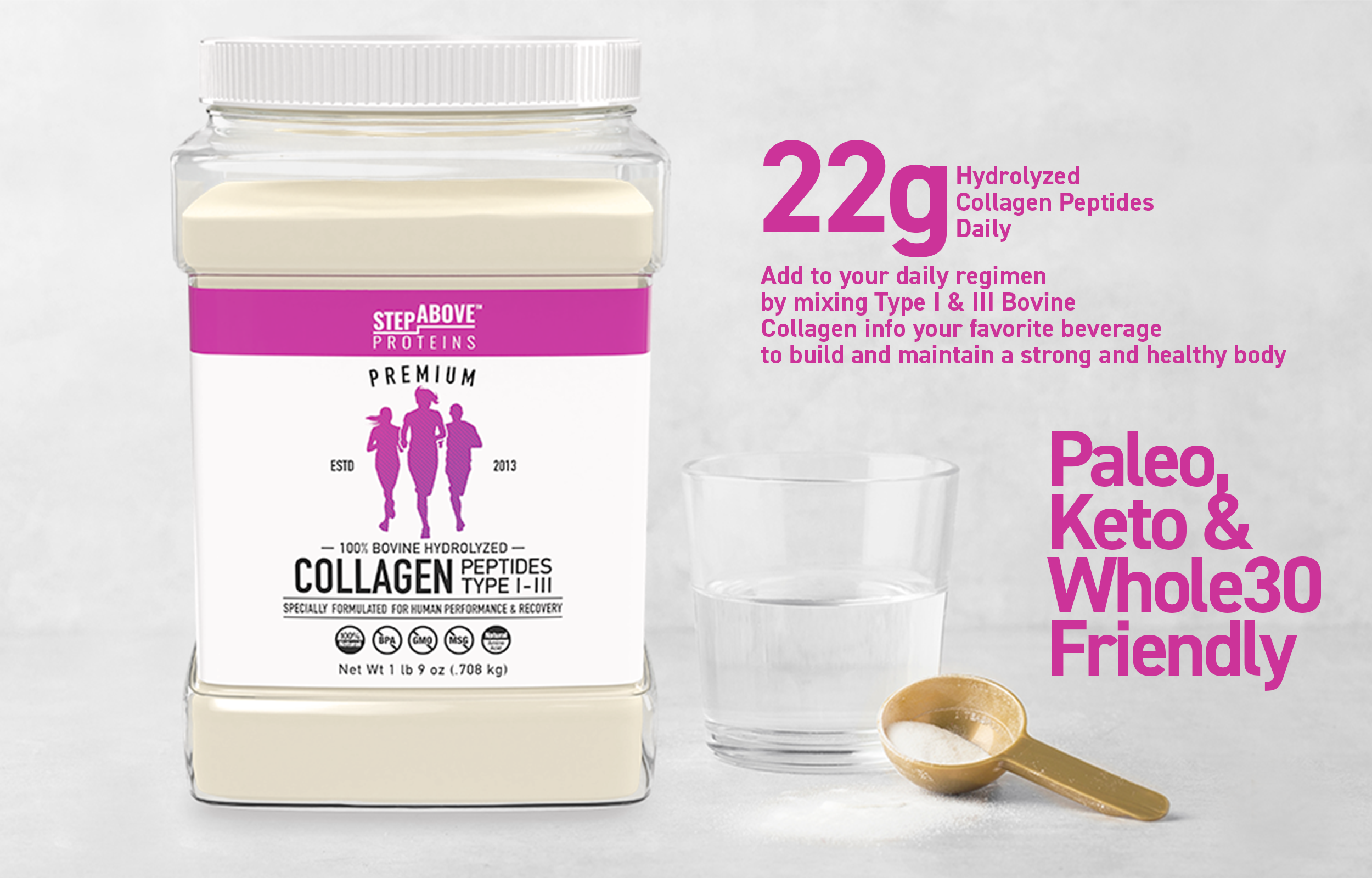 Package Image with water glass and scoop. 22grams of Hydrolyzed Collagen Peptides Daily. Add to your daily regimen by mixing Type 1 and 3 Bovine collagen into your favorite beverage to build and maintain a strong and healthy body.