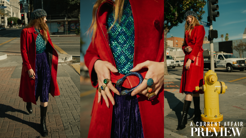 Recess A Current Affair Preview Girl in Vintage Gucci Red Suede Coat Crossing Street