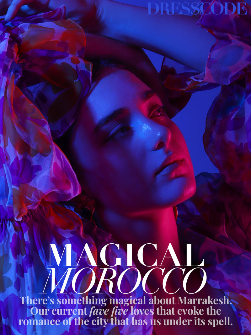 Recess Los Angeles DressCode Editorial Midnight in Morocco Majorelle Blue Vintage Oscar de la Renta