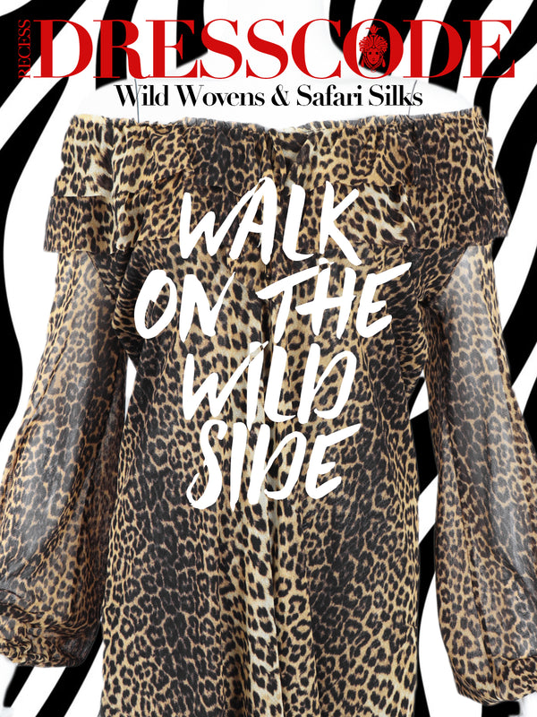 Recess DressCode Los Angeles Designer Consignment Vintage Wild Woven Silk Safari Take A Walk On The Wild Side