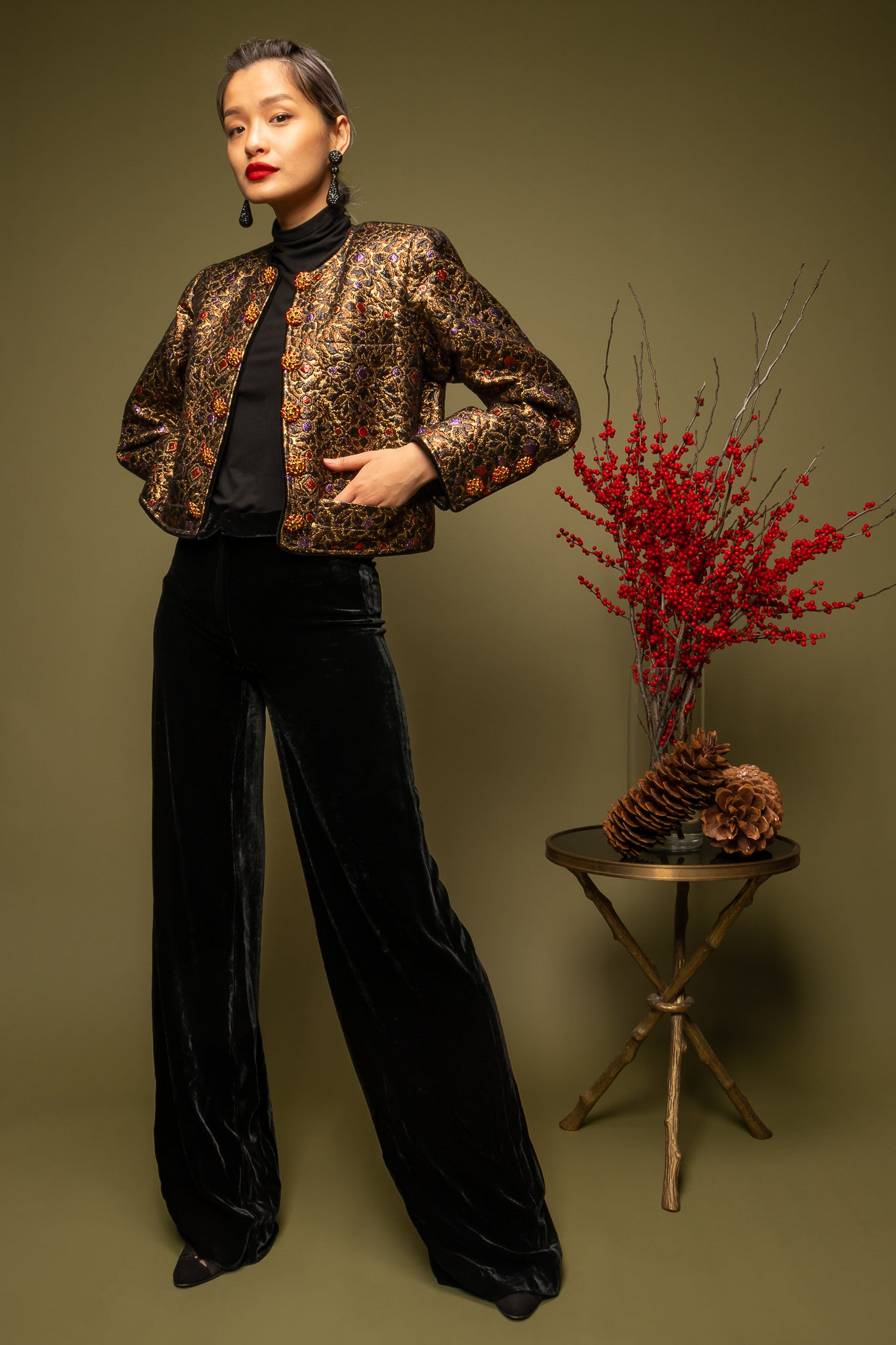 girl in brocade YSL jacket & Armani Collezioni velvet pant on green @ Recess Los Angeles