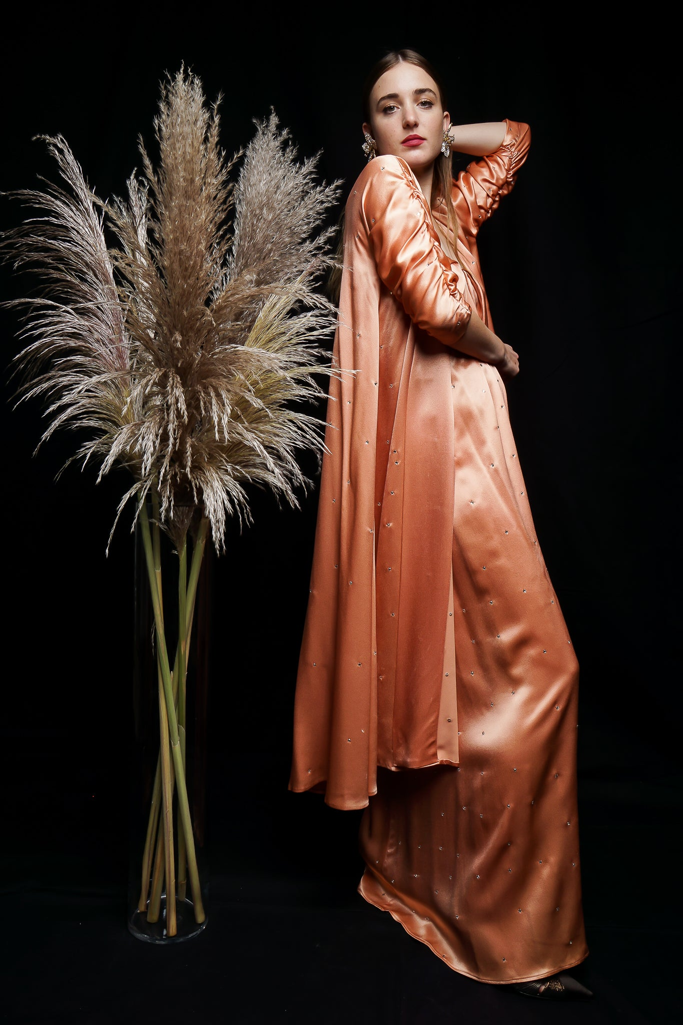 Girl in Peach Satin Holly's Harp Gown & Duster Set Old Hollywood at Recess LA Vintage Consignment