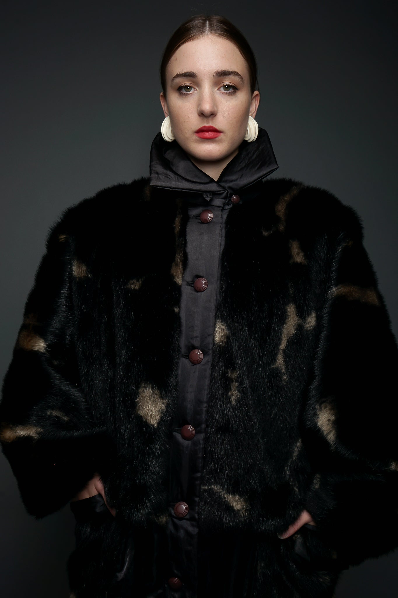 Girl in Black Issey Miyake 80s Faux Fur Overcoat at Recess LA Vintage Designer Consignment