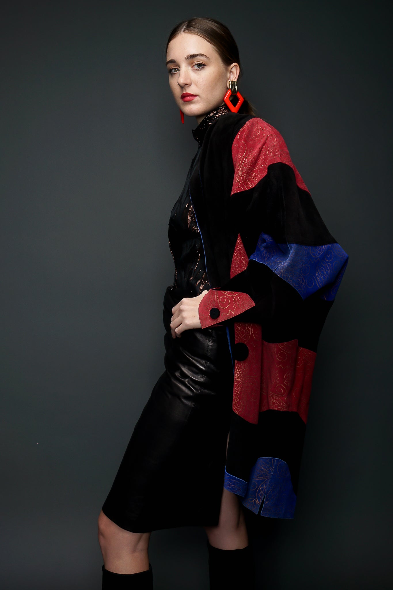 Girl in red/blue Suede Jean Muir Cocoon Coat & YSL leather skirt at Recess LA Vintage