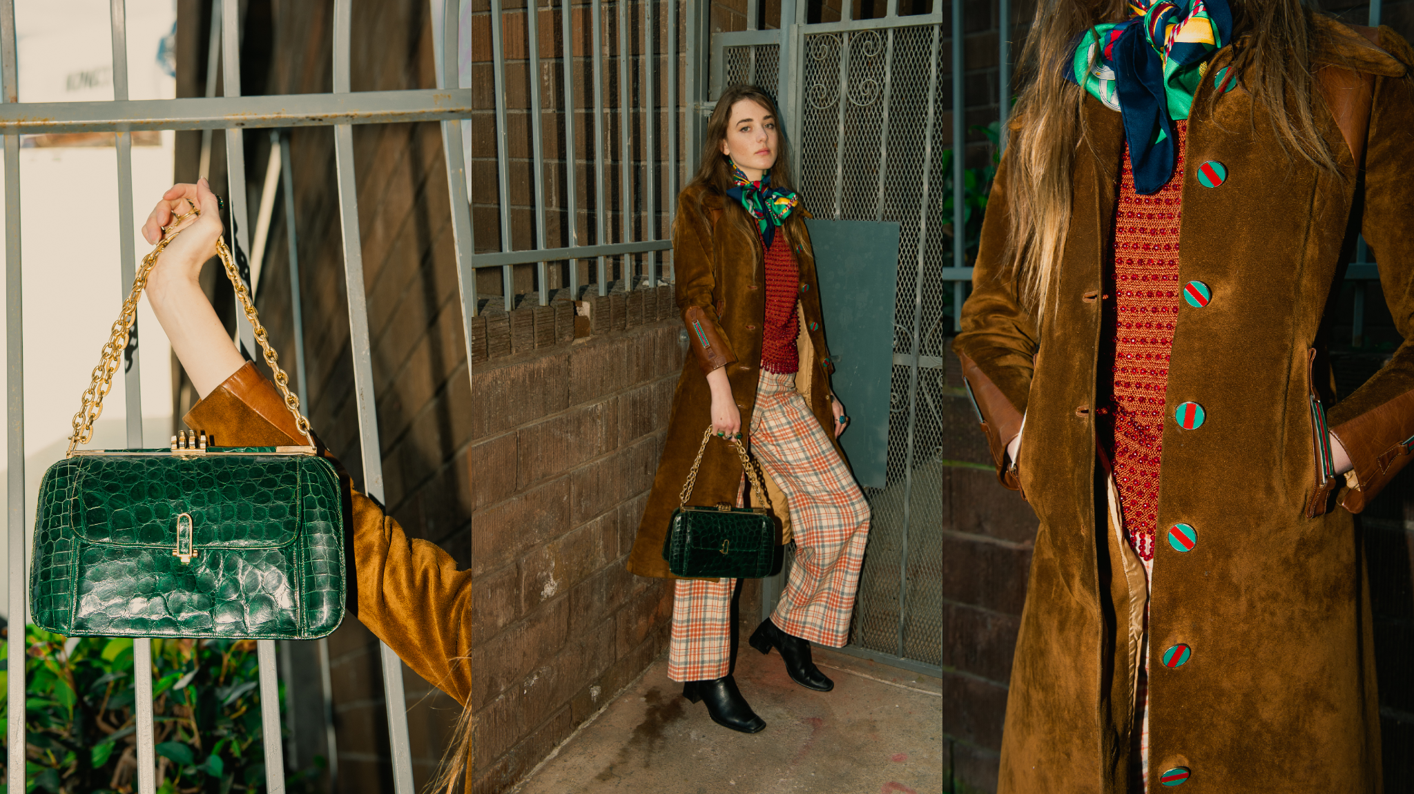 Recess A Current Affair Preview Girl in Vintage Tan Suede Gucci Coat and Plaid Pants