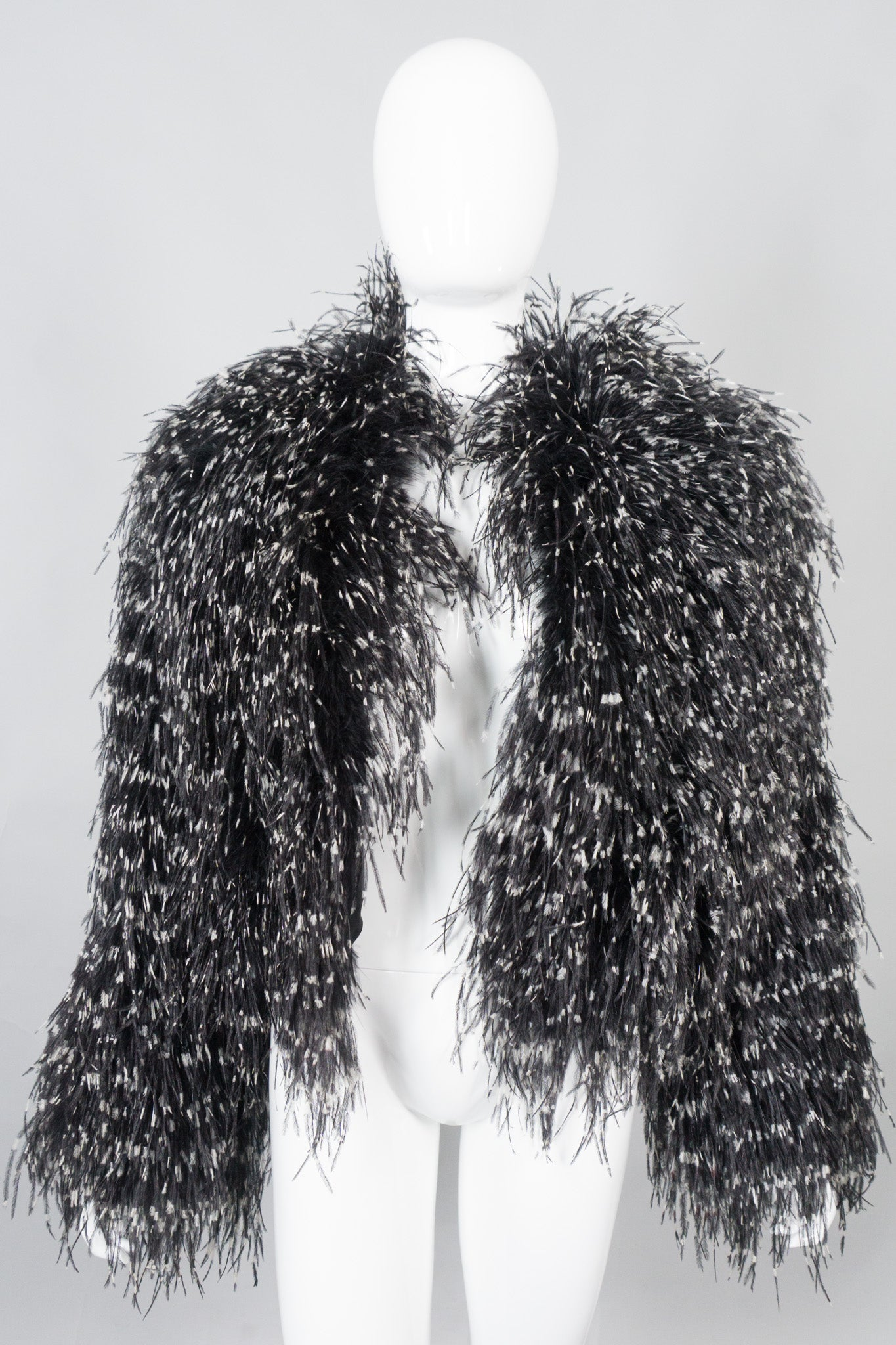 Adrienne Landau Ostrich Feather Rock N Roll Jacket