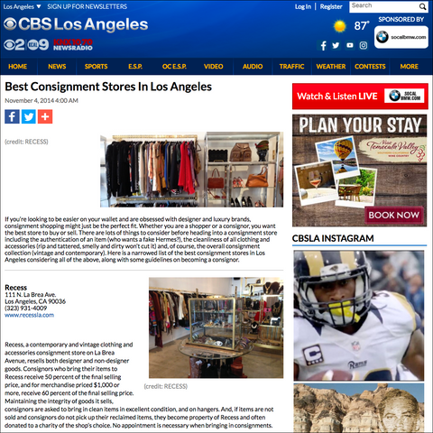Recess in CBS Local- Best Consignment Shops in Los Angeles