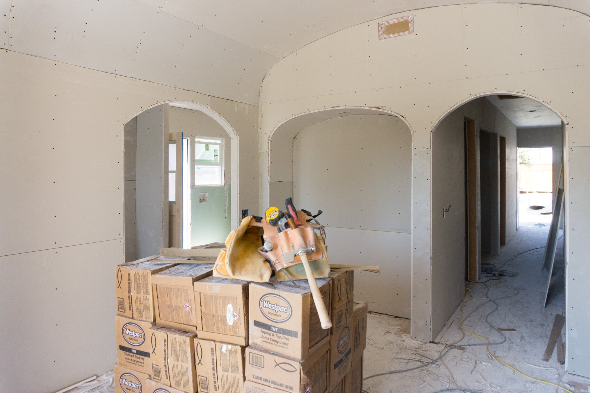 Recess Flip Highland Park House Drywall Installation Curved Doorways