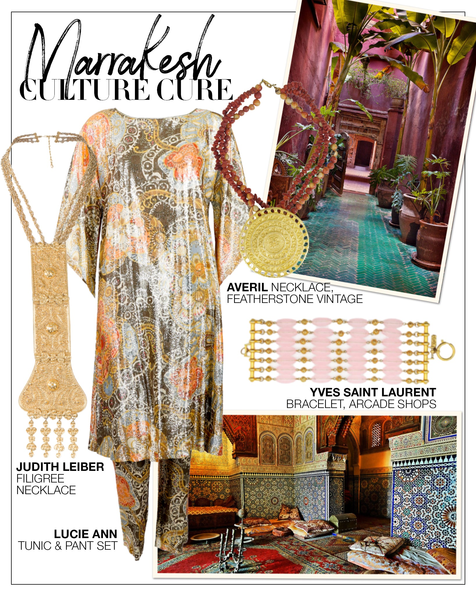 Recess DressCode Escapism Covid Quarantine Vacation Marrakesh Culture Lucie Ann Metallic Tunic Set
