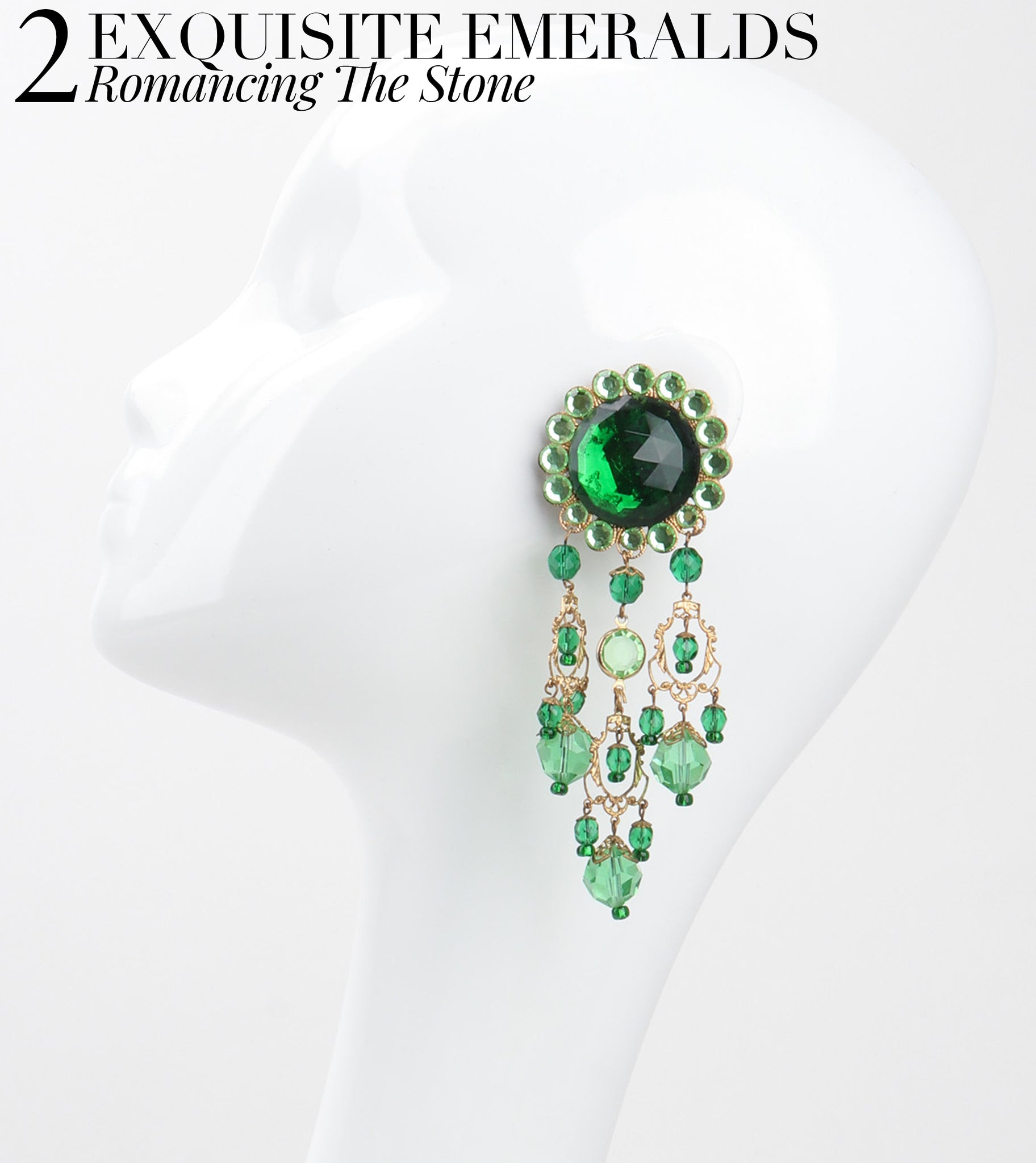 RECESS Los Angeles Vintage Dress Code Statement Earring Exquisite Emeralds Romancing The Stone Chandelier