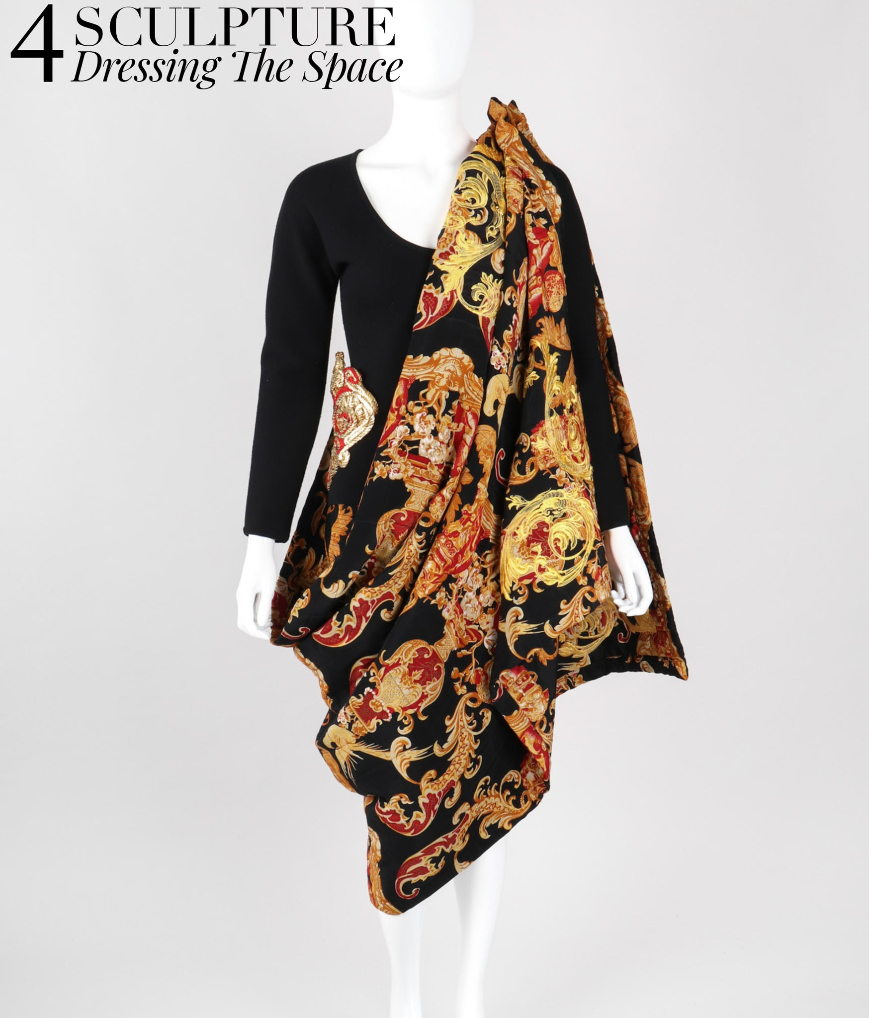 Recess Los Angeles Vintage Gianfranco Ferre Baroque Quilted Skirt Wrap Set 90s Versace