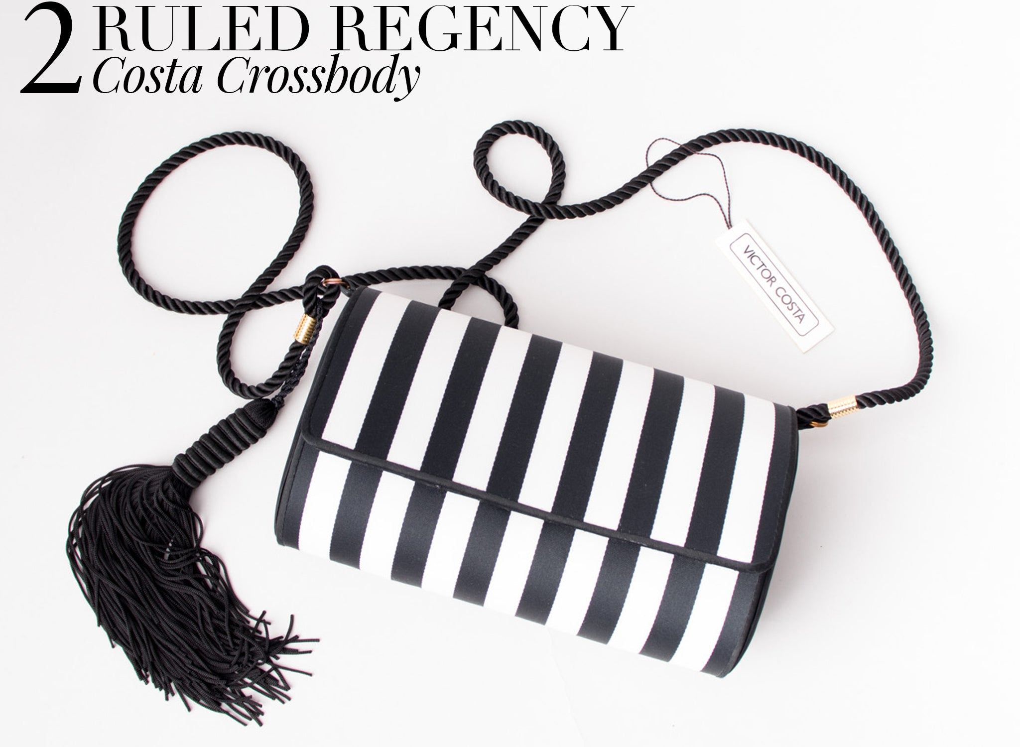 Recess DressCode Bold Black & White BW Ruled Regency Victor Costa Striped Bag