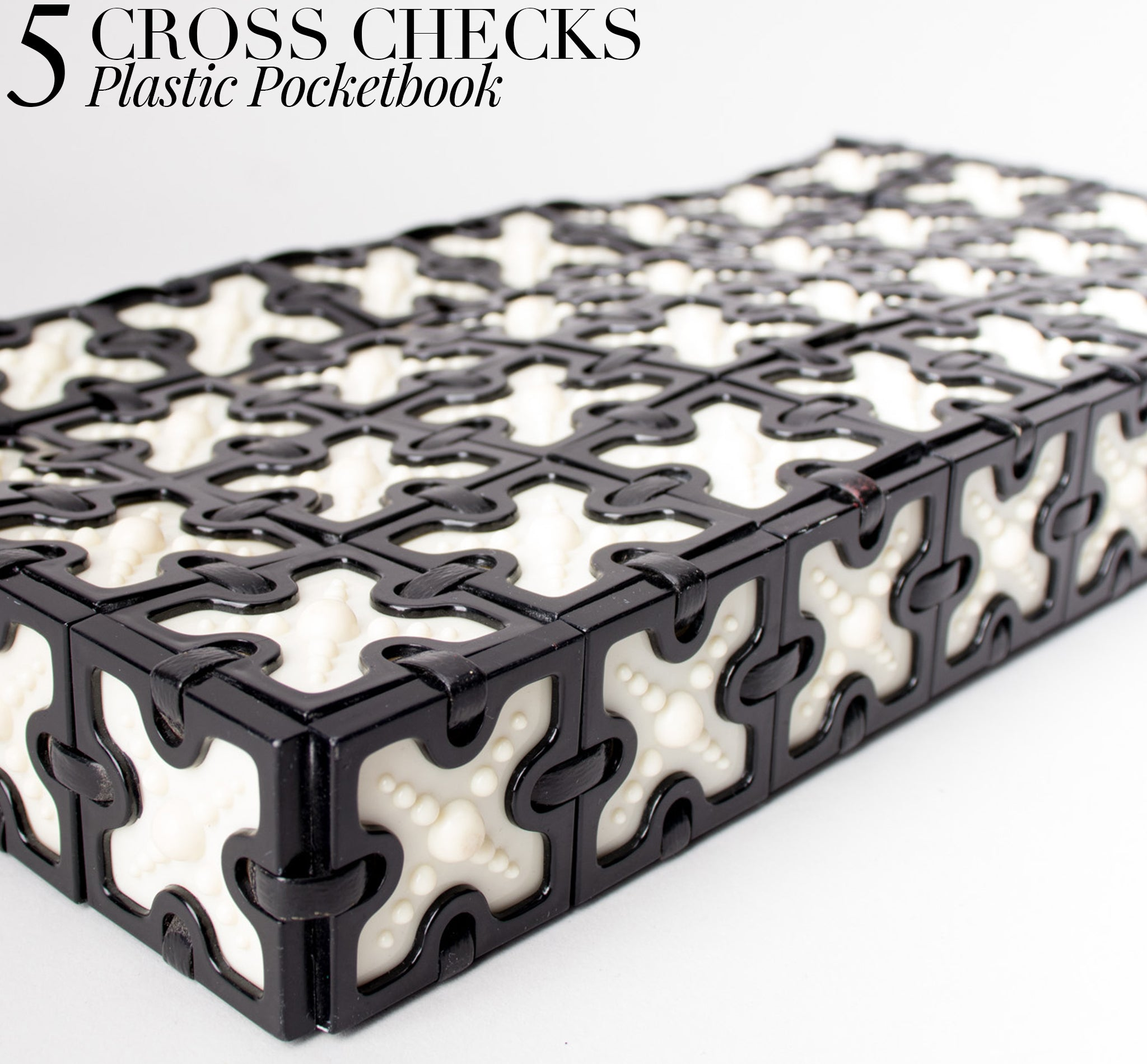 Recess DressCode Bold Black & White BW 1950s Cross Plastic Tile Clutch Purse Pocketbook