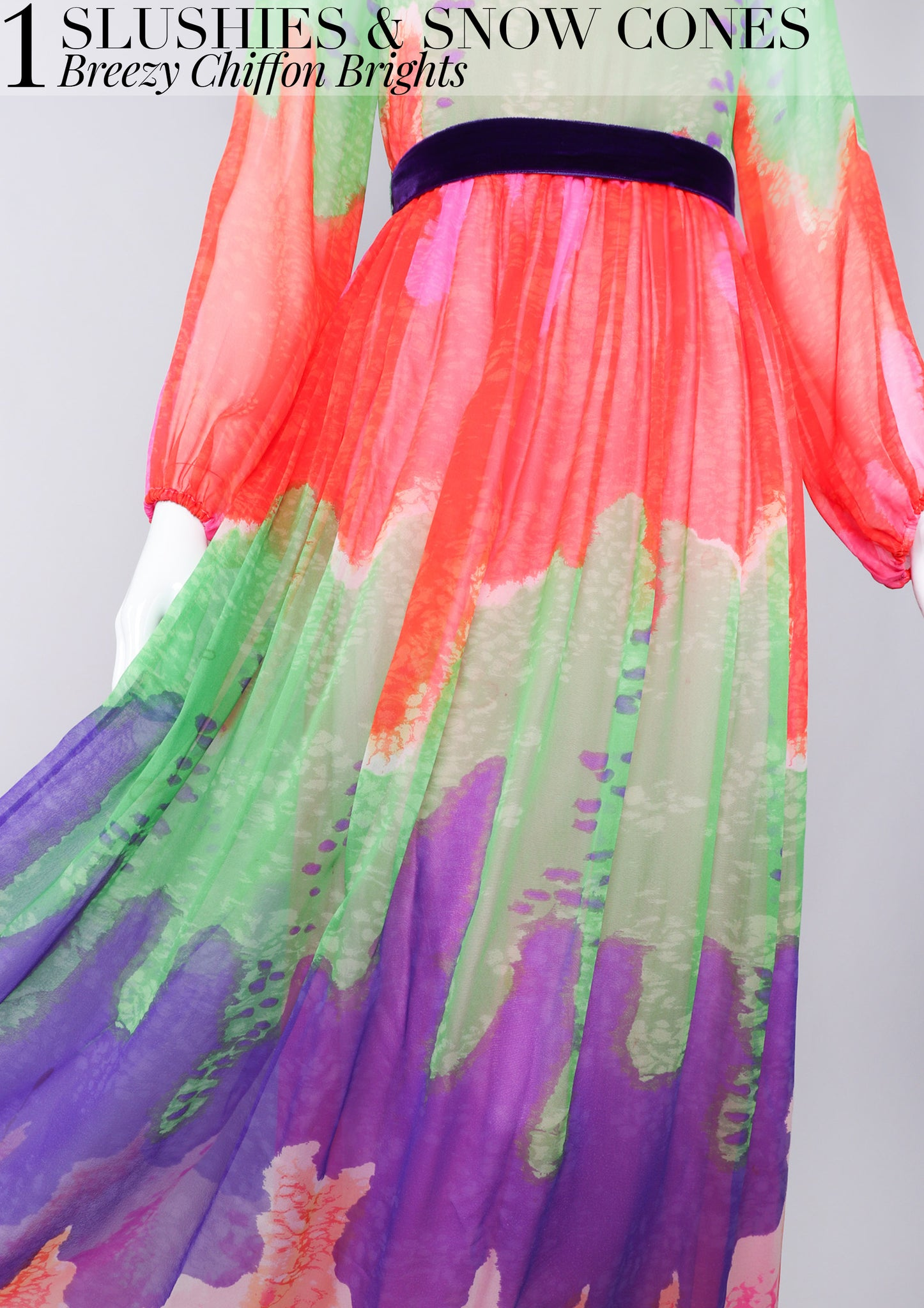 RECESS Los Angeles Vintage Dress Code Ice Cream Dream Slushie Slurpee Chiffon Dress