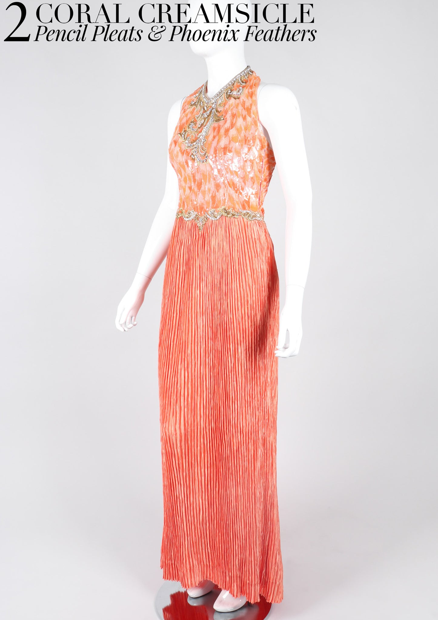RECESS Los Angeles Vintage Dress Code Ice Cream Dream Mary McFadden Coral Creamsicle Pleated Phoenix Feather Halter Gown