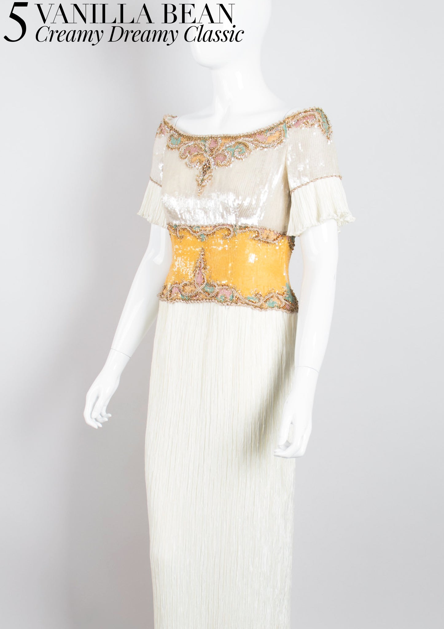 RECESS Los Angeles Vintage Dress Code Ice Cream Dream Mary McFadden Vanilla Bean Cream Classic GoT Pleated Wedding Gown