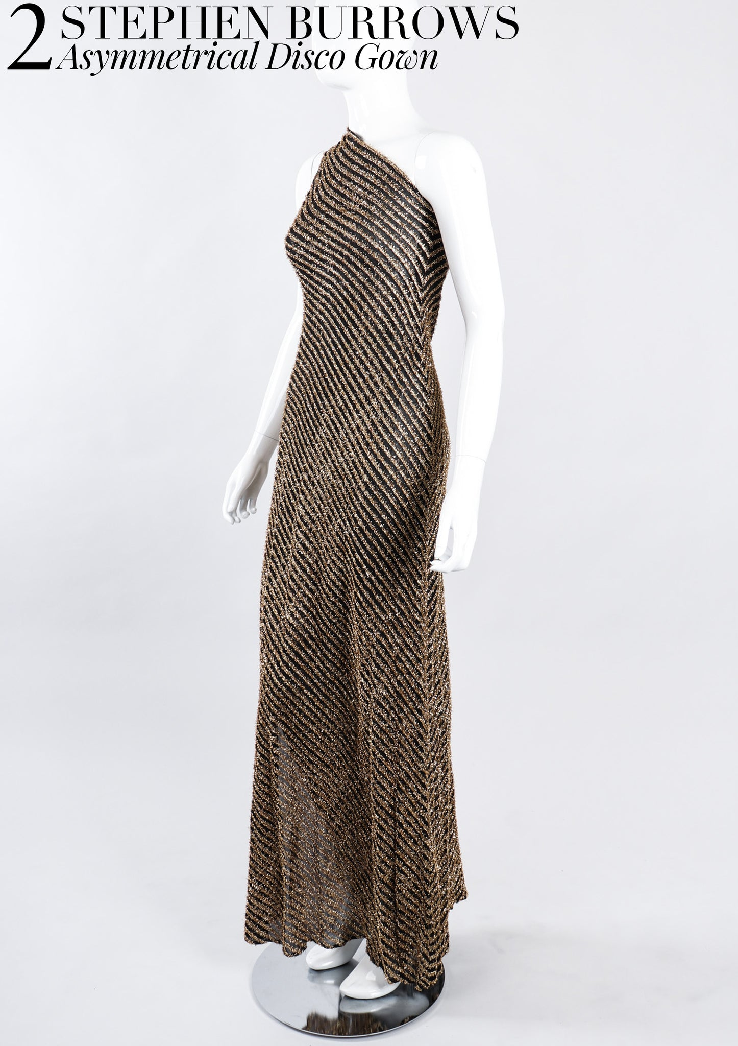 RECESS Los Angeles Vintage Dress Code Statement Piece Major Player Stephen Burrows Gold Asymmetrical Disco Gown