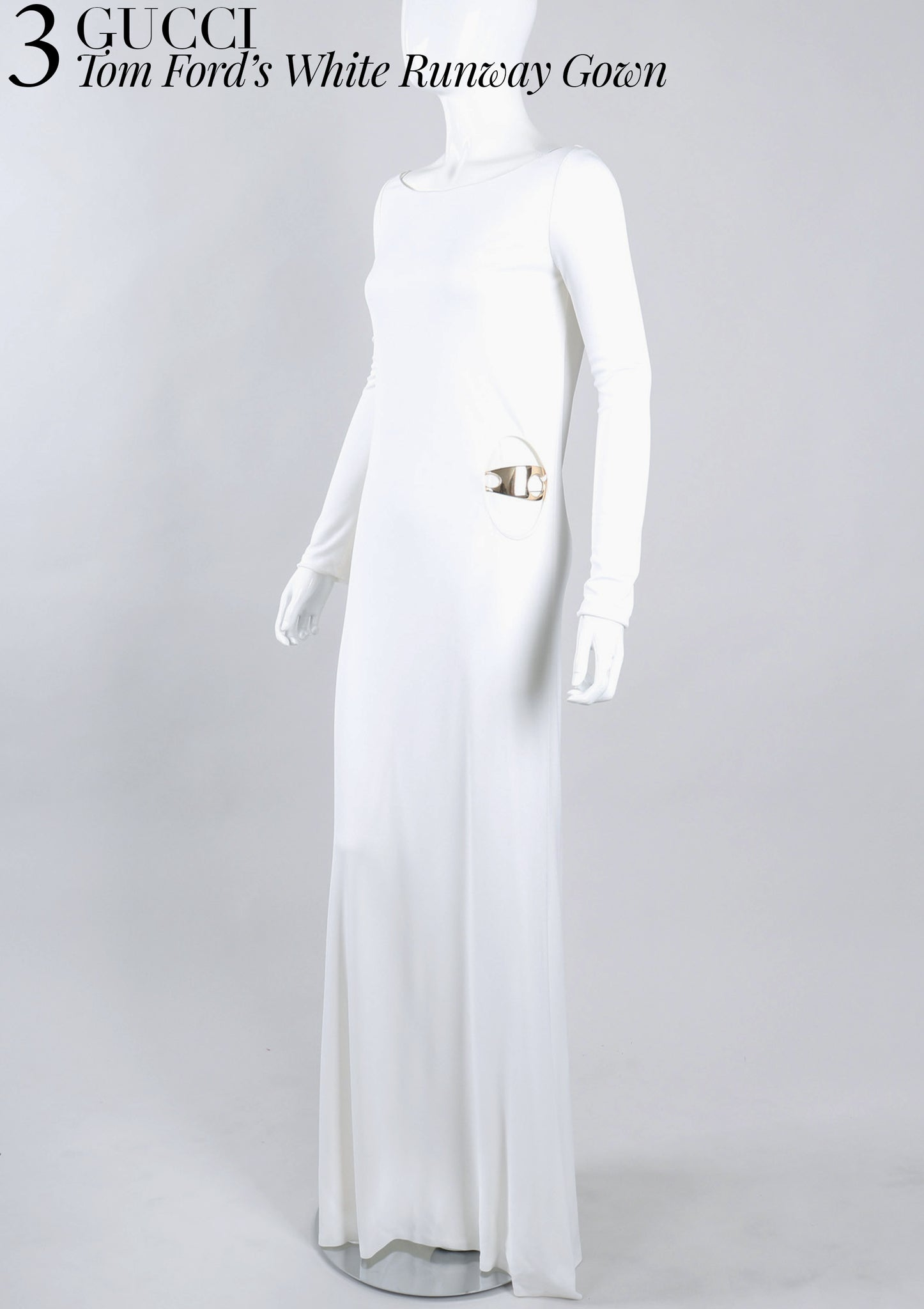 RECESS Los Angeles Vintage Dress Code Statement Piece Major Player Gucci Tom Ford 1996 Runway White Gown Jersey Cutout